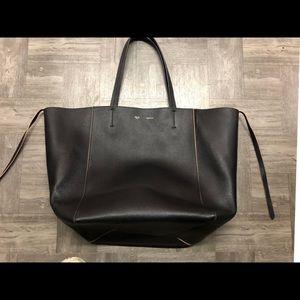Celine Phantom Cabas Black Leather Tote